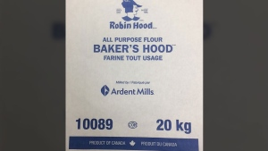 A 20-kilogram bag of Baker's Hood All Purpose Flour is seen in this photo provided by the CFIA. (CFIA)