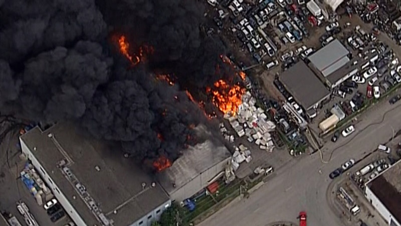 A massive blaze broke out on Mitchell Island, a small industrial area of Richmond, on Friday afternoon. June 16, 2017. (CTV/Chopper 9)