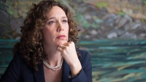 Tzeporah Berman pauses for a moment during a news conference in Vancouver, B.C., on Monday, March 23, 2015. (THE CANADIAN PRESS/Jonathan Hayward)