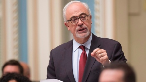 Quebec Finance Minister Carlos Leitao responds to the Opposition during question period at the legislature in Quebec City, on Tuesday, May 30, 2017. (THE CANADIAN PRESS/Jacques Boissinot)