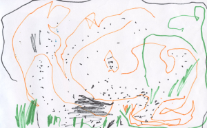 Weather art by Elena, age 3.