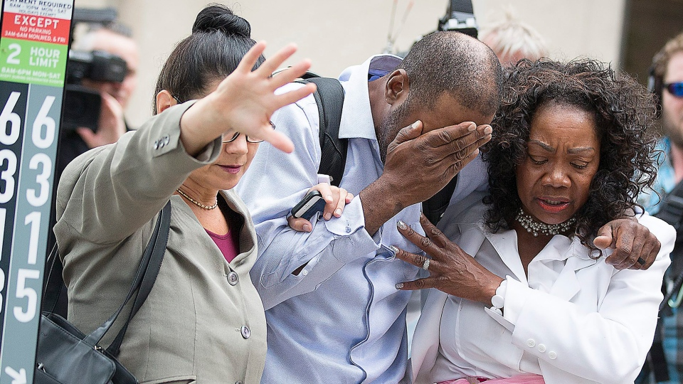 Family and friends of Valerie Castile and Philando Castile walked out of the courthouse after Jeronimo Yanez was found not guilty on all counts in the shooting death of Philando Castile, in St. Paul, St. Paul, Minn. Friday, June 16, 2017. (Elizabeth Flores / Star Tribune via AP)