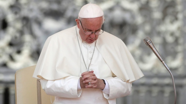 Pope Francis holds his hands in prayer during his weekly general audience in St. Peter's Square, at the Vatican on Wednesday, June 14, 2017. (AP / Alessandra Tarantino)