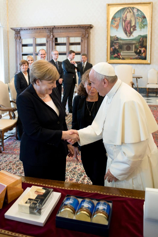 Pope Francis and German Chancellor Angela Merkel