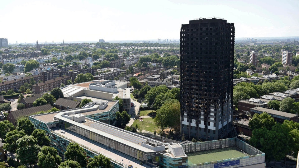Grenfell Tower in west London after a fire engulfed the 24-storey building on Wednesday morning, Saturday, June 17, 2017. (David Mirzoeff / PA via AP)