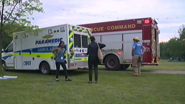 High Winds Knock Over Finish Line At Relay For Life