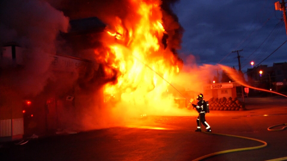 Abbotsford fire crews responded to a 911 call reporting flames and smoke at a tire store around 4:30 a.m. Saturday. (CTV)