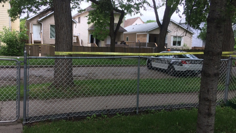 Several properties remained blocked off with police tape throughout the afternoon. (Beth Macdonell/CTV Winnipeg)