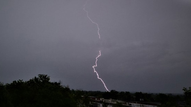 MyNews contributor sent in a photo of a lightning strike in Thornhill, Ont. (Eddie Chan / MyNews)