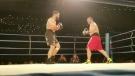 Boxer Tim Hague, right, faces off against former Edmonton Eskimos player, Adam Braidwood, during a KO Boxing event in Edmonton on Friday, June 16, 2017.