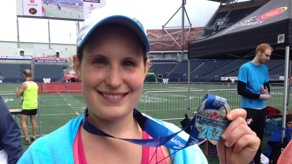 Emily Ratzlaff finished with the best time of all female runners. (Gary Robson/CTV Winnipeg)