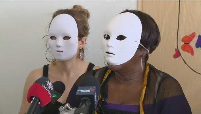 """Marcia,"" right, told reporters in a news conference that permanent residency status is the best-case scenario for refugees arriving in Quebec. (CTV Montreal)"