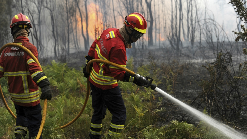 Portuguese firefighters work to stop a forest fire from reaching the village of Figueiro dos Vinhos central Portugal on Sunday, June 18, 2017. (AP / Paulo Duarte)