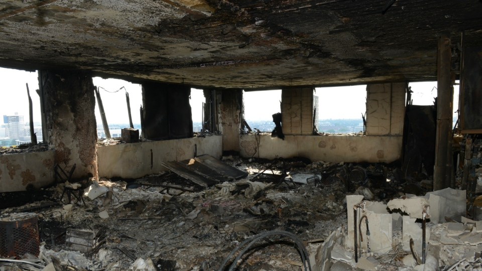 A view of an apartment in the Grenfell Tower after fire engulfed the 24-storey building, in London, in this photo released on Sunday, June 18, 2017. (Metropolitan Police)