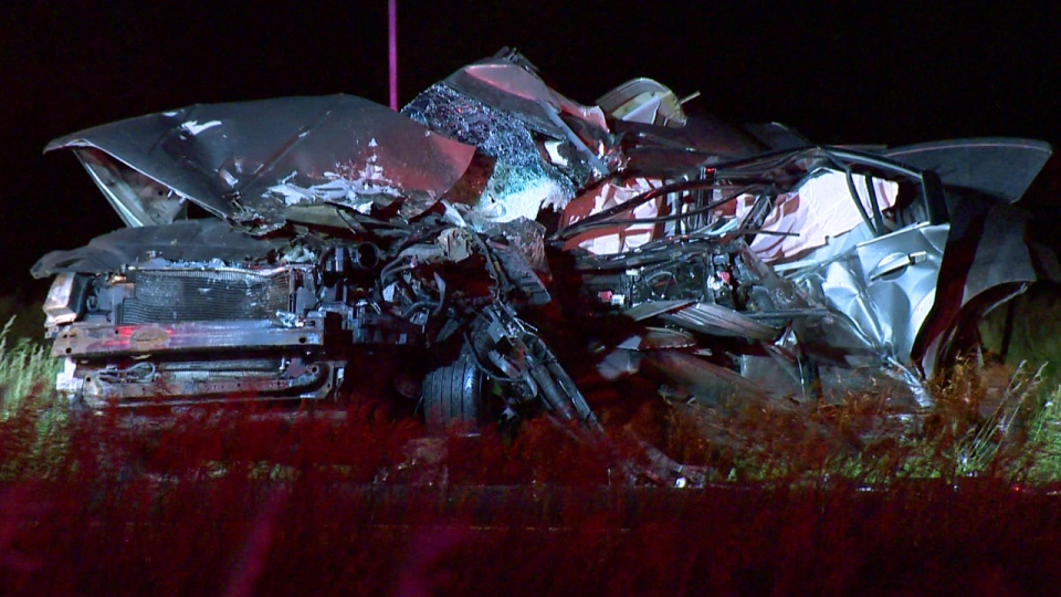 The driver of this car died June 19, 2017 in Sainte Julie. A second driver was arrested under suspicion of being drunk at the wheel. (CTV Montreal/Cosmo Santamaria)