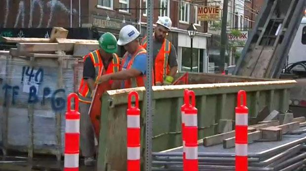 Crews begin work on College Street on June 19, 2017.