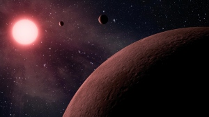 This artist rendering provided by NASA/JPL-Caltech shows some of the 219 new planet candidates, 10 of which are near-Earth size and in the habitable zone of their star identified by NASA's Kepler space telescope. (NASA/JPL-Caltech via AP)