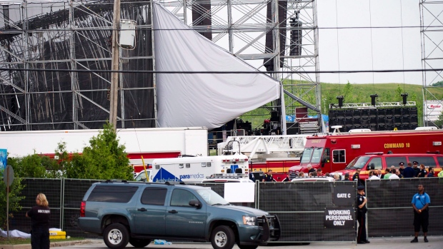 Collapsed stage at Downsview Park