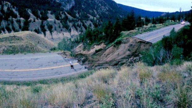 Highway 20 washed out, one auto pulled from river