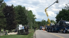 Gravel truck rollover