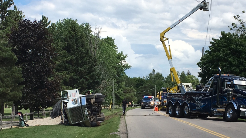 A gravel truck rollover closed a section of Huron Road in Wilmot Township on Monday, June 19, 2017. (Terry Kelly / CTV Kitchener)