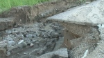 Washout causes road to collapse