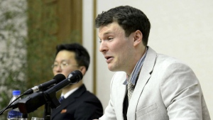 American student Otto Warmbier cries while speaking to reporters in Pyongyang, North Korea on Feb. 29, 2016. (Korean Central News Agency / Korea News Service)