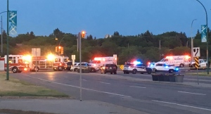 Emergency vehicles converge at Saskatoon's Airport and Circle drives late Monday, June 19, 2017, following a crash that left the driver of a stolen truck dead on scene.
