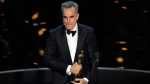 "Daniel Day-Lewis accepts the award for best actor in a leading role for ""Lincoln"" during the Oscars at the Dolby Theatre on Sunday, Feb. 24, 2013, in Los Angeles. (Photo by Chris Pizzello / Invision / AP)"