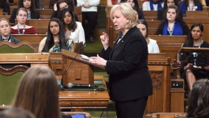 Kim Campbell, 19th prime minister of Canada, addresses the Daughters of the Vote (DOV) event, organized by Equal Voice Canada, as it takes place in the House of Commons on Parliament Hill in Ottawa on Wednesday, March 8, 2017.