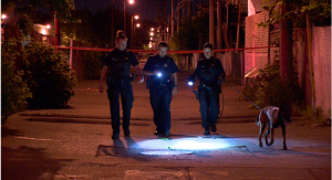 Montreal police are investigating the area around the St. Michel property where an 18-year-old was shot in the leg by an unknown assailant in the early hours of Wednesday morning. (Cosmo Santamaria/CTV Montreal)