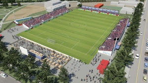Handout artist rendering image of the downtown pop-up soccer stadium in downtown Halifax, Nova Scotia. (THE CANADIAN PRESS / HO-Sports & Entertainment Atlantic)