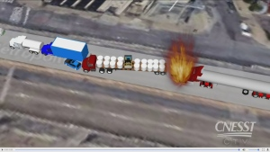 The CNESST created this animation of a deadly crash on the Metropolitan/Highway 40