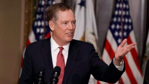 U.S. Trade Representative Robert Lighthizer speaks in the Eisenhower Executive Office Building on the White House complex in Washington during his swearing-in ceremony Monday, May 15, 2017.  (THE CANADIAN PRESS / AP-Evan Vucci)