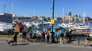 A heavy police presence responded to Fisherman's Wharf in Victoria following reports of shots being fired Wednesday afternoon. June 21, 2017. (CTV Vancouver Island)