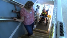 Jack Cholette's family says he loves riding their new wheelchair lift, which was generously donated by BC Ferries. June 21, 2017. (CTV)