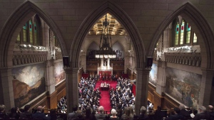 Governor General David Johnston delivers the speech from the throne in the Senate Chamber on Parliament Hill in Ottawa on December 4, 2015. The Senate won't be splitting the Trudeau government's budget bill to hive off the portion dealing with creation of a new infrastructure bank.Senators have rejected by the narrowest of margins a motion to split the bill, defeating it on a tie vote of 38-38 late Monday. THE CANADIAN PRESS/Sean Kilpatrick