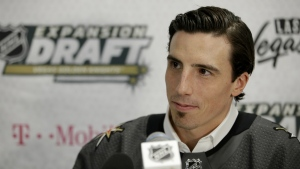 Vegas Golden Knights' Marc-Andre Fleury speaks with the media in Las Vegas on Wednesday, June 21, 2017. (AP / John Locher)
