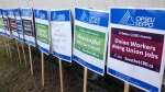 OPSEU is setting up strike headquarters outside the LCBO's head office in Toronto. (Cam Woolley/ CP24)