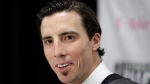Vegas Golden Knights' Marc-Andre Fleury speaks with the media Wednesday, June 21, 2017, in Las Vegas. Fleury was picked by the team in the NHL hockey expansion draft. (Source: John Locher-AP/The Canadian Press)