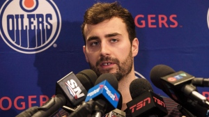 Edmonton Oilers' Jordan Eberle speaks to media in Edmonton, Alta., on Friday May 12, 2017. (THE CANADIAN PRESS/Jason Franson)