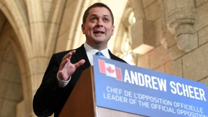 Conservative Party leader Andrew Scheer speaks to reporters during an end of session media availability on Parliament Hill in Ottawa on Wednesday, June 21, 2017. (Justin Tang / THE CANADIAN PRESS)