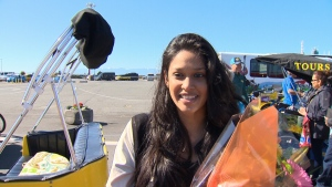 Every million passengers, the Greater Victoria Harbour Authority celebrates by awarding one lucky passenger some goodies, and this year the honour went to Reshme Balramsingh from Trinidad and Tobago. June 22, 2017. (CTV Vancouver Island)