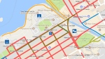 Map of streets that will be closed to vehicles in Ottawa and Gatineau for Canada Day celebrations.