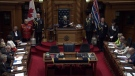 Lt.-Gov. Judith Guichon delivers the speech from the throne in the B.C. legislature. June 22, 2017.