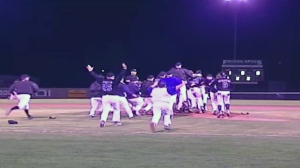 The Guelph Royals celebrate winning the 2004 Intercounty Baseball League championship in this file image taken from video.