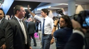 Canadian Prime Minister Justin Trudeau greets students at a building in the University of Toronto campus before joining Peter Baker Chief White House Correspondent of the New York Times and Catherine Porter, Toronto Bureau Chief for The New York Times, for a panel discussion in Toronto on Thursday, June 22, 2017. (THE CANADIAN PRESS/Chris Young)