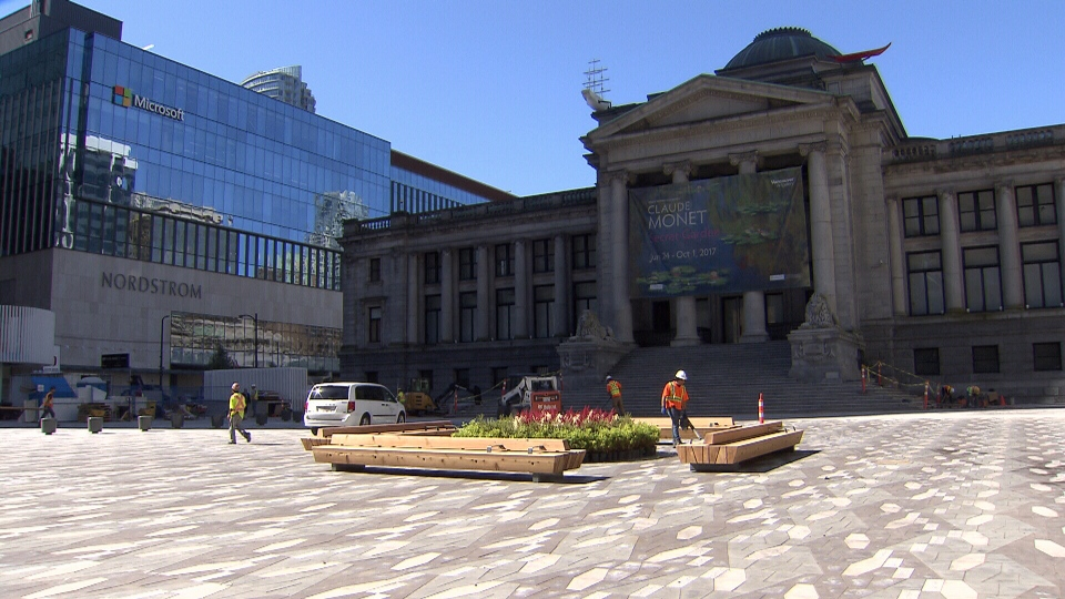 The renovated plaza on the north side of the Vancouver Art Gallery is seen in this photo from Thursday, June 22, 2017.