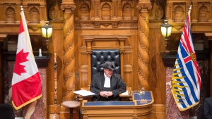 Newly appointed House Speaker Steve Thomson addresses the legislature prior to the Speech from Throne in Victoria, Thursday, June 22, 2017. (Jonathan Hayward / THE CANADIAN PRESS)