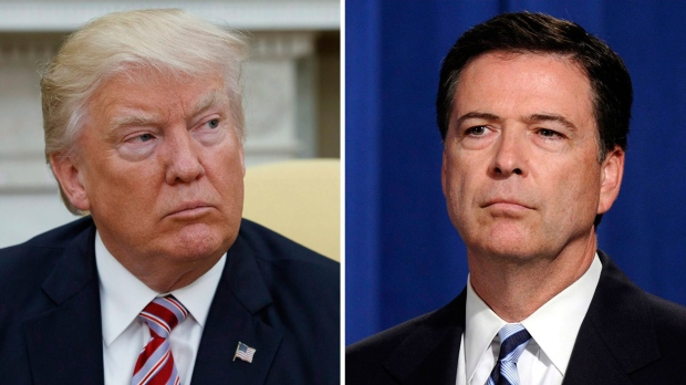 In this combination photo, U.S. President Donald Trump appears in the Oval Office of the White House in Washington on May 10, 2017, and former FBI Director James Comey appears at a news conference in Washington on June 30, 2014. (AP Photo/Evan Vucci, left, and Susan Walsh)